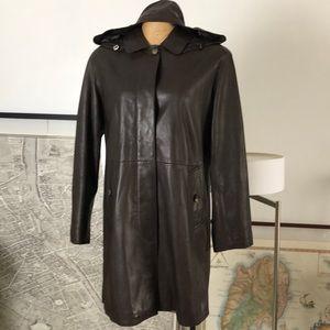 Burberry coat lambskin detachable hoodie coat